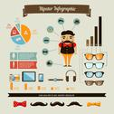 Stock Illustration of hipster infographics elements set with geek boy