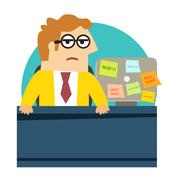 worried angry office worker at the desk - stock illustration