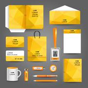 Stock Illustration of yellow geometric technology business stationery template