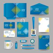 Stock Illustration of blue ornamental business stationery template