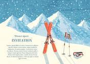 Stock Illustration of ski winter mountain landscape card
