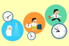 manager starting his busy workday - stock illustration