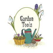 Hand drawn gardening tools emblem Stock Illustration