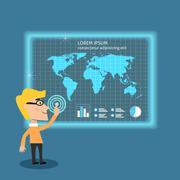 Stock Illustration of business man analysing big data
