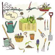 sef of gardening tools - stock illustration