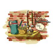 hand drawn still life of gardening tools - stock illustration