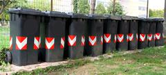 many trash bins for separate waste collection 4 - stock photo