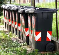 many trash bins for separate waste collection 3 - stock photo