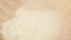 Stick rice boil steam in weaving bamboo and pot. Stock Footage