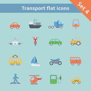 Stock Illustration of transportation flat icons set