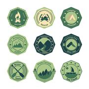 outdoors tourism camping flat emblems - stock illustration