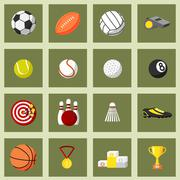 Sports flat icons set Stock Illustration