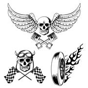 motorcycle bike labels set - stock illustration