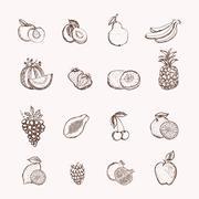 Stock Illustration of fruits icons set