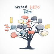 doodle talk bubbles growing on tree - stock illustration