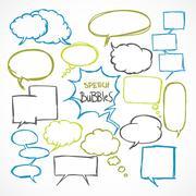 doodle comic speech bubbles set - stock illustration