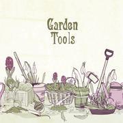 hand drawn gardening tools frame - stock illustration