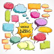 Doodle comic chat bubbles collection Stock Illustration
