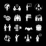 business team meeting icons set - stock illustration