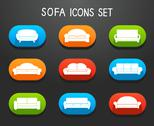 Stock Illustration of sofas and couches furniture icons set
