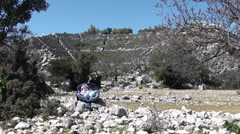 Amphitheater and a baby in chair - stock footage
