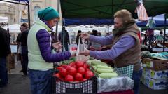 Local market, buying fresh vegetables, farmers market, organic food Stock Footage