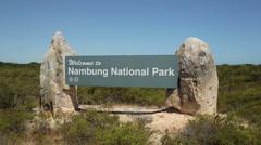 Nambung national park sign, cervantes, australia Stock Footage