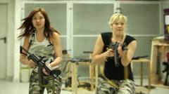 Blonde & Asian Girl Aiming AKS-74U - 001 Stock Footage