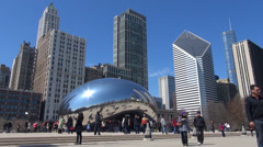 Timelapse tourist people enjoy visit Cloud Gate Bean Chicago square sunny day US Stock Footage