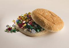 fast food bread and pins - stock photo