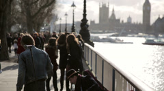Tourists at southbank london Stock Footage