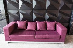Modern red sofa in front of the wall Stock Photos