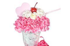 Carnation sundae with heart Stock Photos
