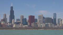 Sears Tower traffic street car pass panorama blue sky lake Michigan Chicago day  Stock Footage