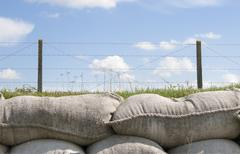 Sandbags and barbed wire world war 1 flanders belgium Stock Photos
