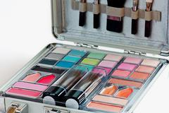 Multicolored eye shadows with cosmetics brush. eyeshadow makeup palette. colo Stock Photos