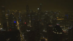 Aerial view night illuminated famous city Chicago street car traffic business US Stock Footage