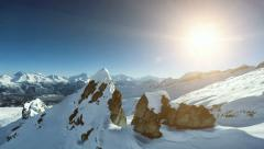 On top of mountain peak. aerial view. winter landscape Stock Footage