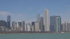 Beautiful panorama Chicago city skyline skyscrapers financial district landmark  Stock Footage