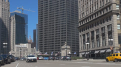 Street transportation downtown Chicago USA America commuter pass travel car day Stock Footage