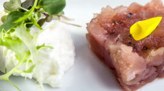 Tuna tartare with white asparagus mousse,sweet pea puree Stock Footage