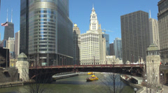 Boat pass Chicago river USA America downtown financial office center district  Stock Footage