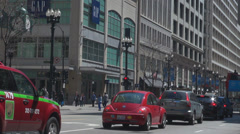 Double-Decker red taxi traffic street pedestrian walking stop Chicago downtown  Stock Footage