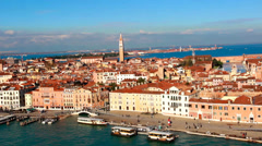Downtown Venice Italy, plaza entrence from ship view Stock Footage