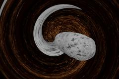 Asteroid comes nearer from abstract twirled space. Stock Illustration