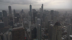 Aerial view panorama Chicago skyline Sears Tower cloud rain storm summer day usa Stock Footage