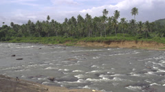 SLOW MOTION: Beautiful river running through a jungle Stock Footage
