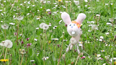 White rabbit marionette on green grass Stock Footage