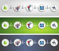 healthy living concept symbol banners - stock illustration