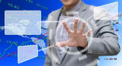 Investor analyzing data with touch screen computer Stock Illustration